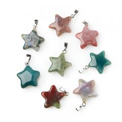 Кулон агат моховой Индия (биж. сплав) звезда 2,5-3 см