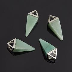 Кулон авантюрин зеленый Индия треугольник (биж. сплав) 3,5-4,5 см