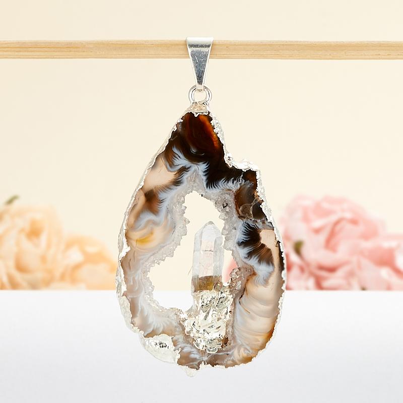 Кулон срез агат кристалл горный хрусталь  3,5-5 см