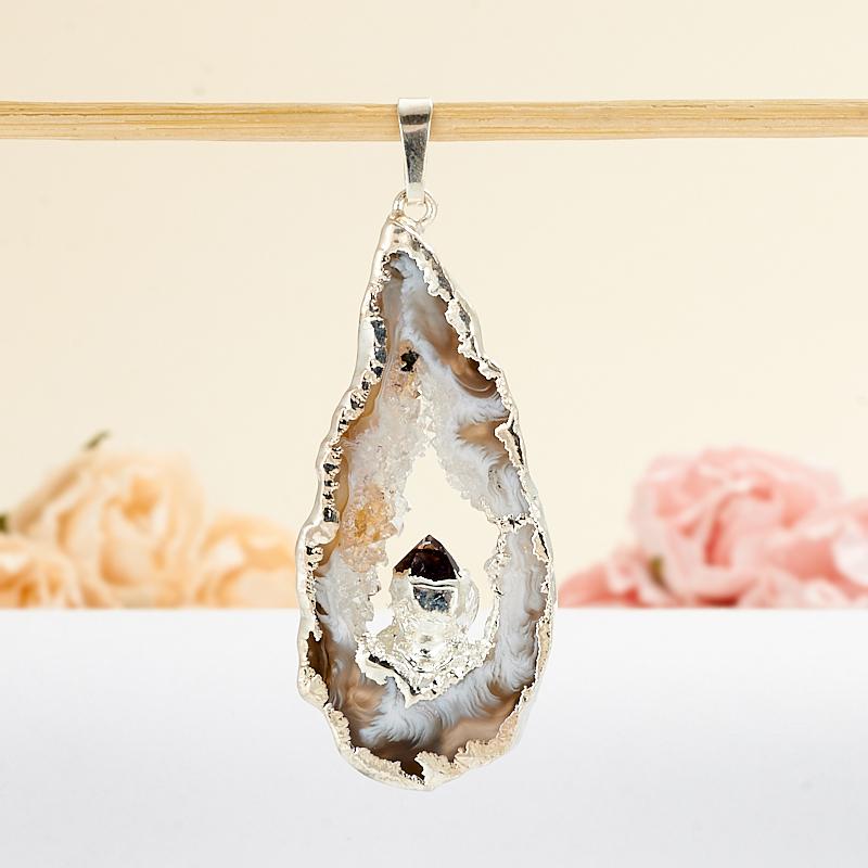 Кулон срез агат кристалл турмалин шерл  3,5-5 см