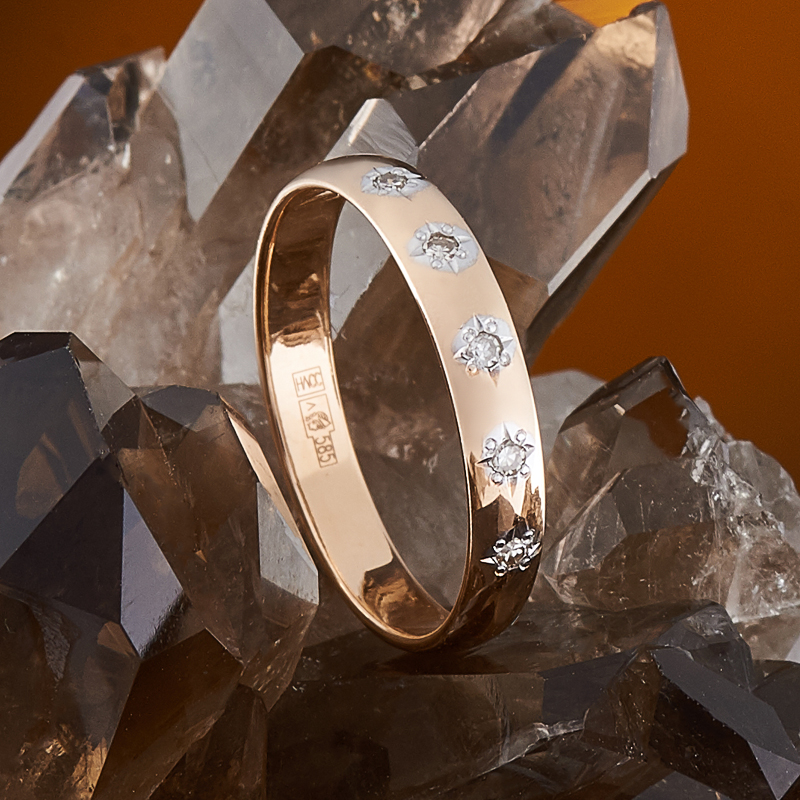 Кольцо бриллиант Россия огранка (обручальное) (золото 585 пр.) размер 17,5