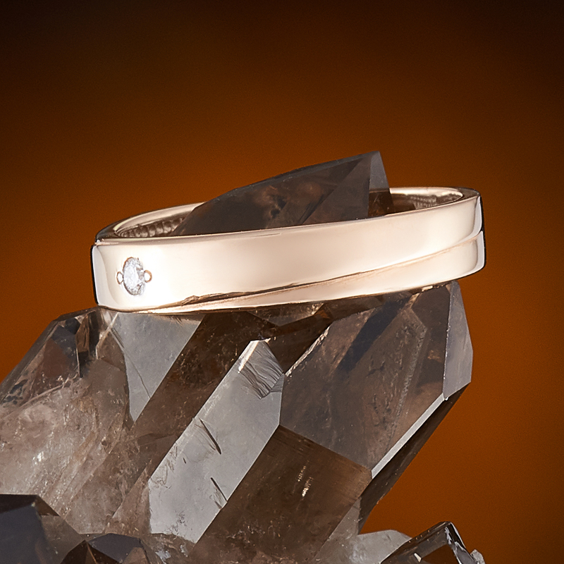 Кольцо бриллиант Россия огранка (обручальное) (золото 585 пр.) размер 22,5
