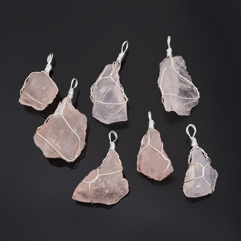 Кулон розовый кварц Намибия (биж. сплав) кристалл 4-5 см