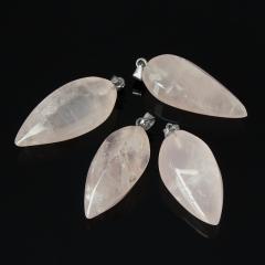 Кулон розовый кварц Намибия (биж. сплав) 4-5 см