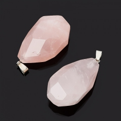 Кулон розовый кварц Намибия огранка (биж. сплав) 4,5-6 см