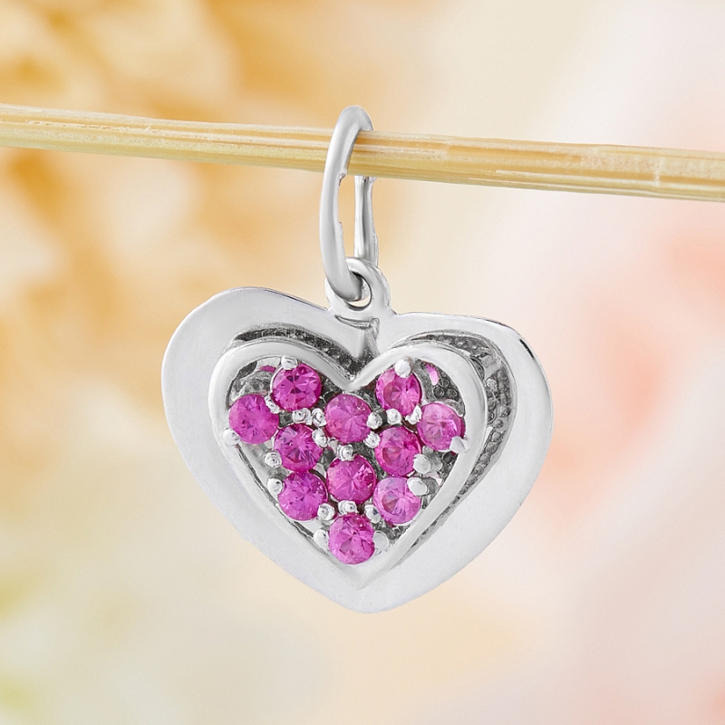Кулон рубин  сердечко огранка (серебро 925 пр.)