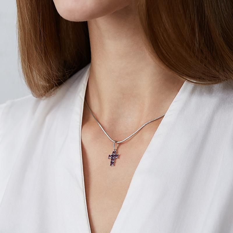 Кулон аметист Бразилия крест огранка (серебро 925 пр. родир. бел.)