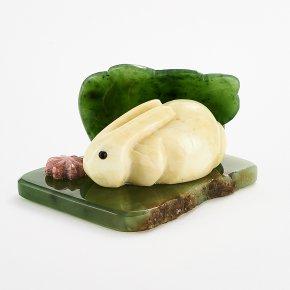 Кролик нефрит зеленый офиокальцит Россия 4х7 см