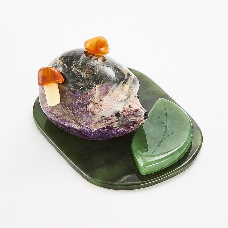 Ежик чароит сердолик нефрит 4х8,5 см
