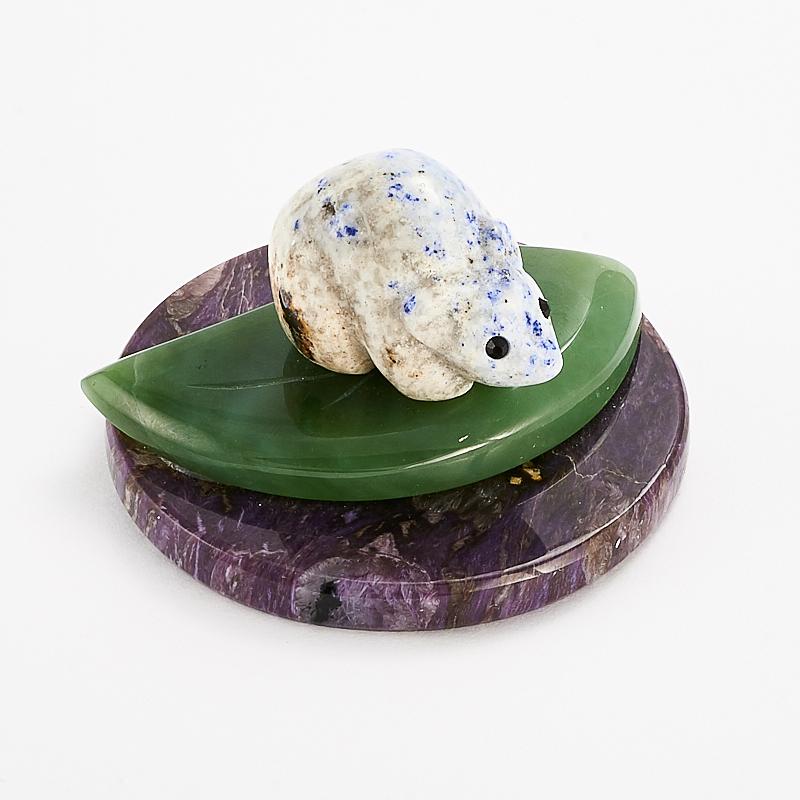 Мышка лазурит нефрит чароит 2,5х5,5 см камни полудрагоценные чароит изделия