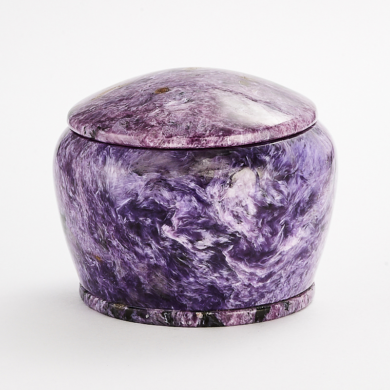 Шкатулка чароит 4х5 см камни полудрагоценные чароит изделия