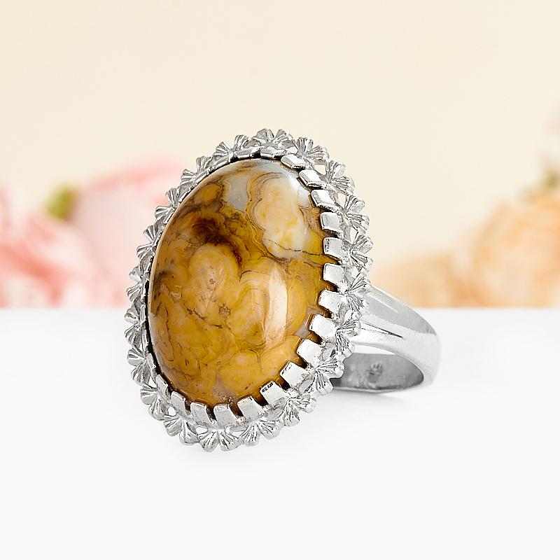 Кольцо яшма горчичная  (серебро 925 пр.) размер 18,5