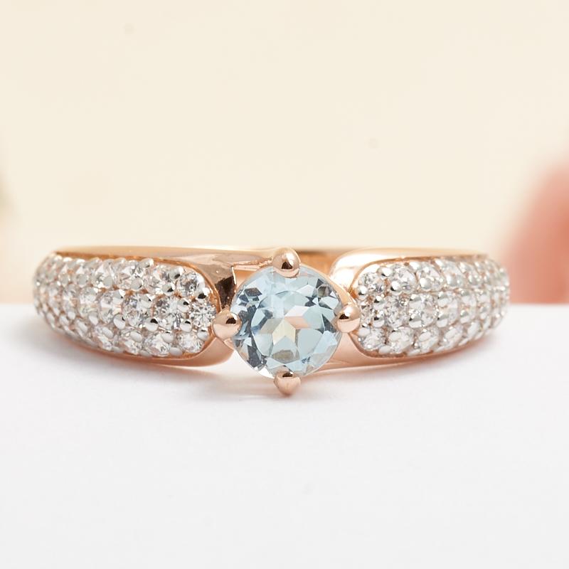 Кольцо топаз голубой огранка (серебро 925 пр., позолота) размер 18