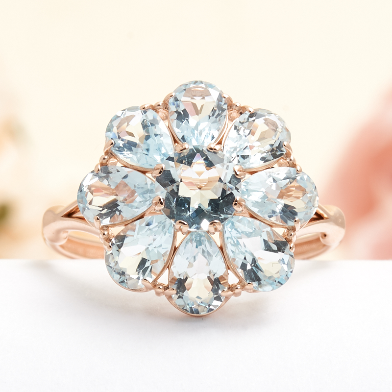 Кольцо топаз голубой огранка (серебро 925 пр., позолота) размер 17 кольцо коюз топаз кольцо т102017974 лл