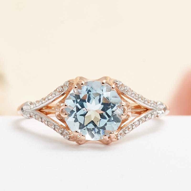 Кольцо топаз голубой огранка (серебро 925 пр., позолота) размер 18,5 кольцо топаз голубой огранка серебро 925 пр позолота размер 17