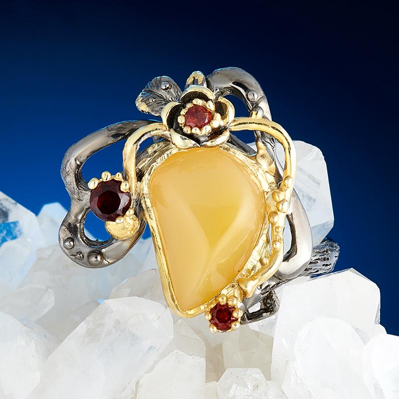Кольцо опал желтый  (серебро 925 пр., позолота) размер 20