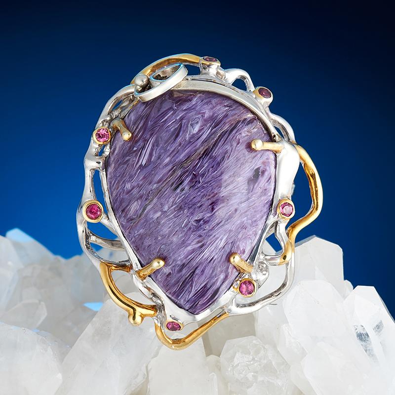 Кольцо чароит  (серебро 925 пр., позолота) размер 18