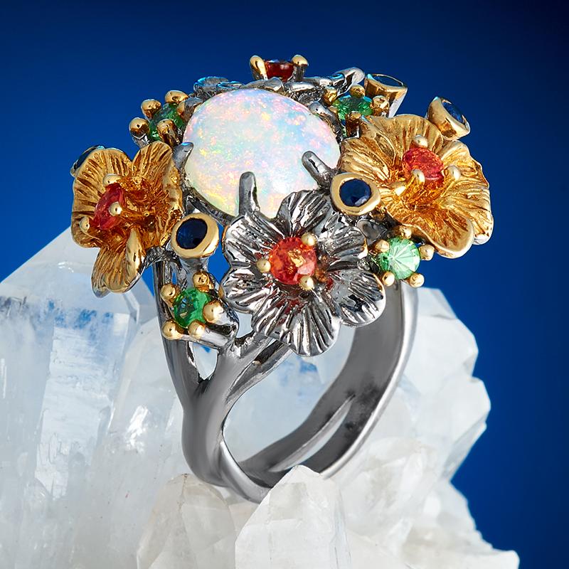 Кольцо опал благородный белый  (серебро 925 пр., позолота) размер 18 кольцо авантюрин зеленый серебро 925 пр размер 18