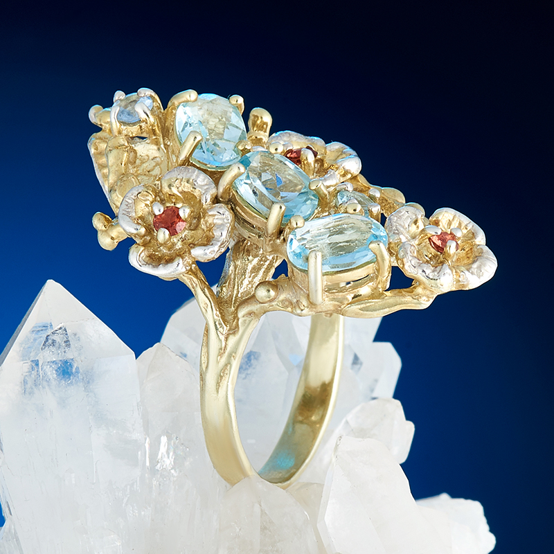 Кольцо топаз голубой огранка (серебро 925 пр., позолота) размер 18 кольцо коюз топаз кольцо т242015482