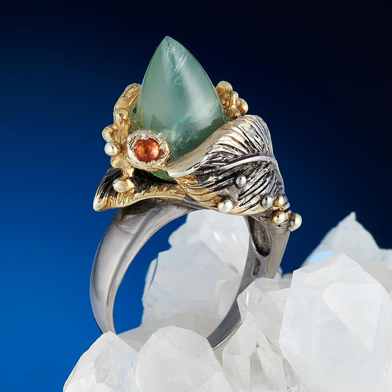 Кольцо пренит  (серебро 925 пр., позолота) размер 18,5