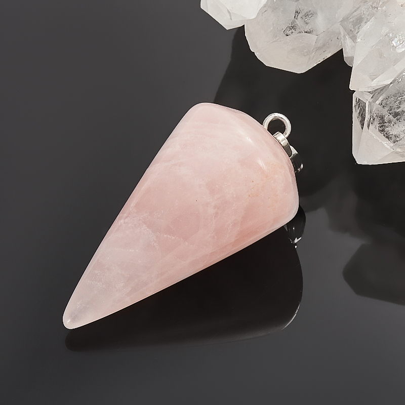 Кулон розовый кварц  маятник 4 см