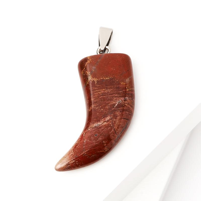 Кулон яшма красная ЮАР клык (биж. сплав) 5 см