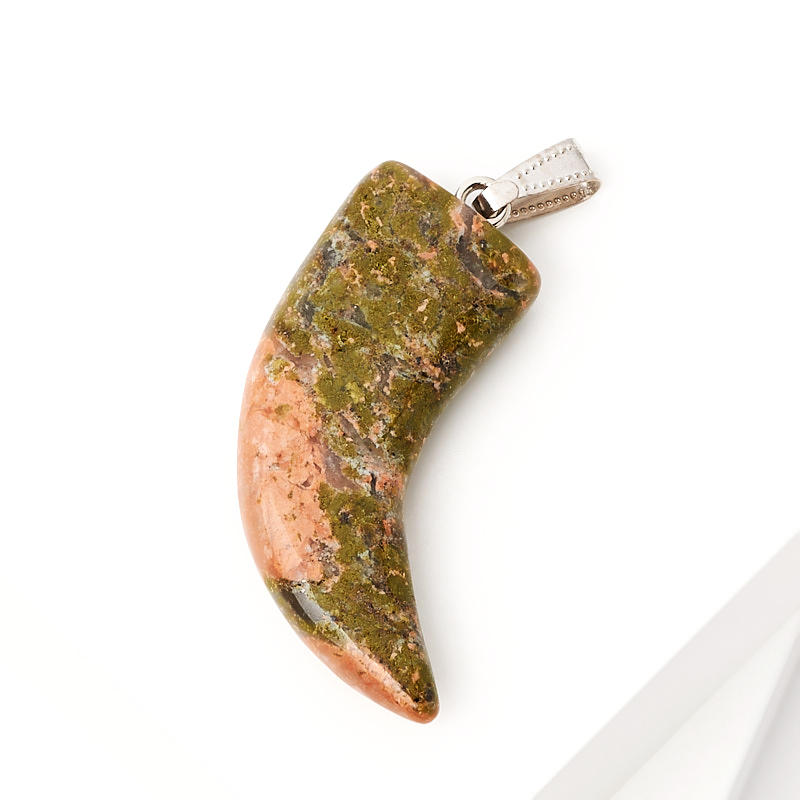 Кулон унакит ЮАР клык (биж. сплав) 5 см