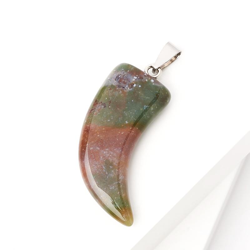 Кулон агат моховой Индия клык (биж. сплав) 5 см