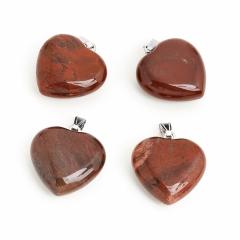 Кулон яшма красная ЮАР сердечко (биж. сплав) 4 см