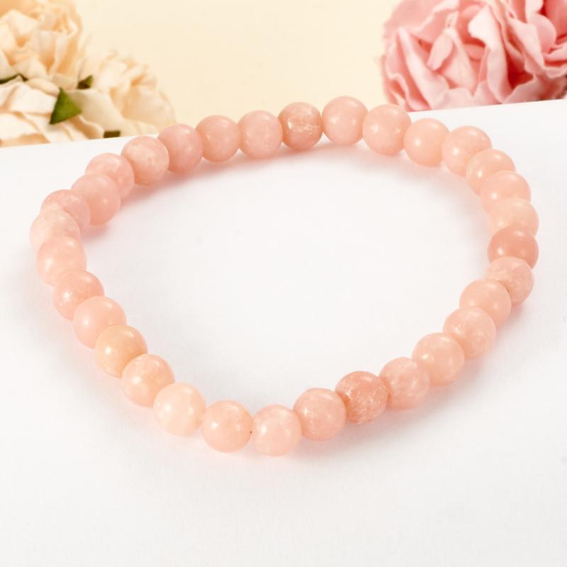 Браслет арагонит розовый 6 мм 16 cм