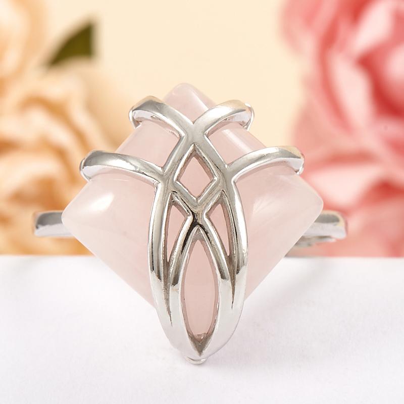 Кольцо розовый кварц  (серебро 925 пр.) размер 22