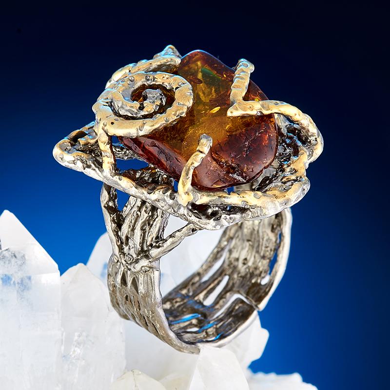 Кольцо янтарь  (серебро 925 пр., позолота) размер регулируемый