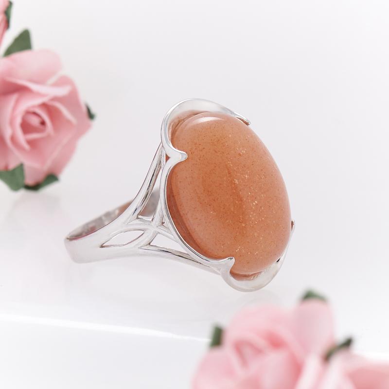 Кольцо солнечный камень Индия (серебро 925 пр.) размер 15