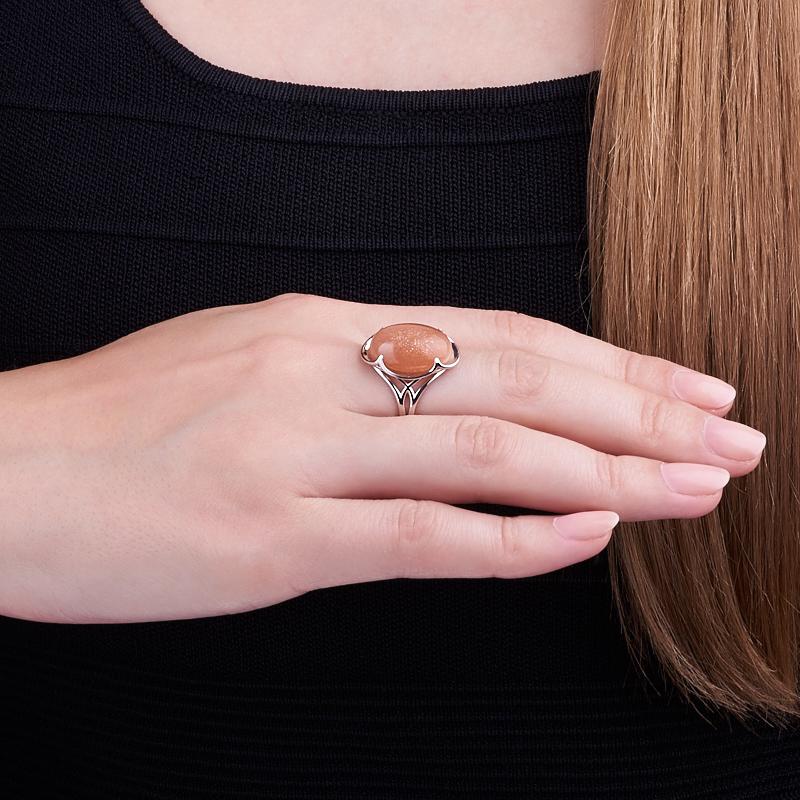 Кольцо солнечный камень Индия (серебро 925 пр.) размер 19