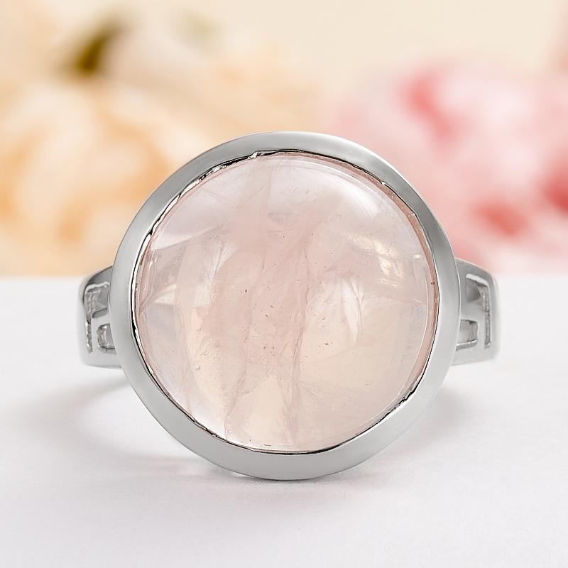 Кольцо розовый кварц  (серебро 925 пр.) размер 17,5