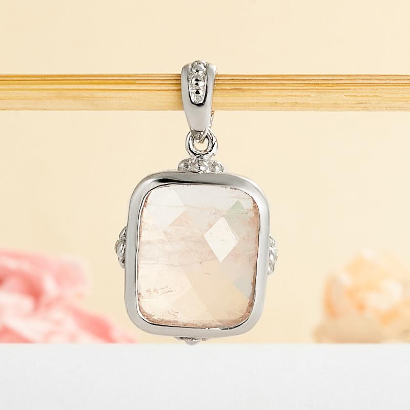 Кулон розовый кварц  прямоугольник огранка (серебро 925 пр.)