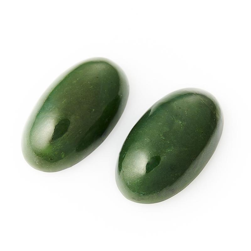 Кабошон нефрит зеленый  13*23 мм