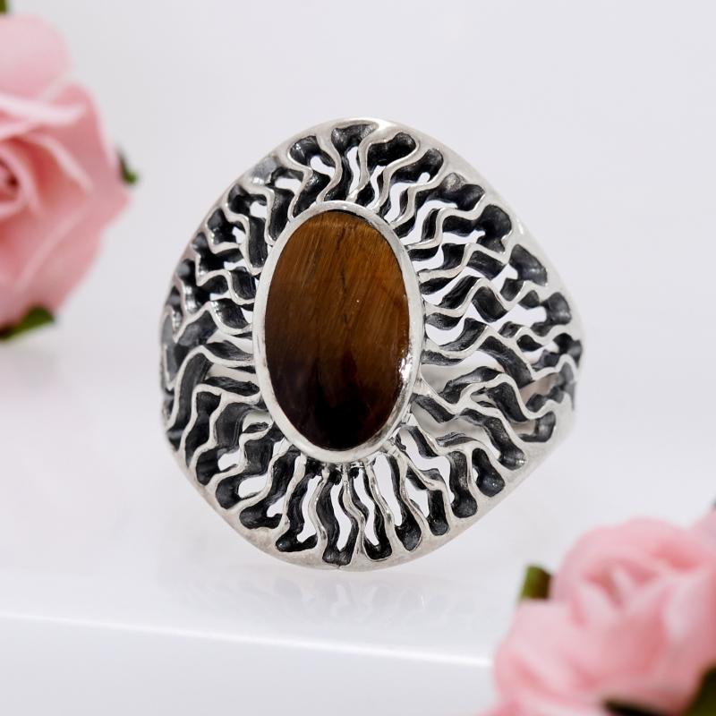 Кольцо тигровый глаз  (серебро 925 пр.) размер 17,5