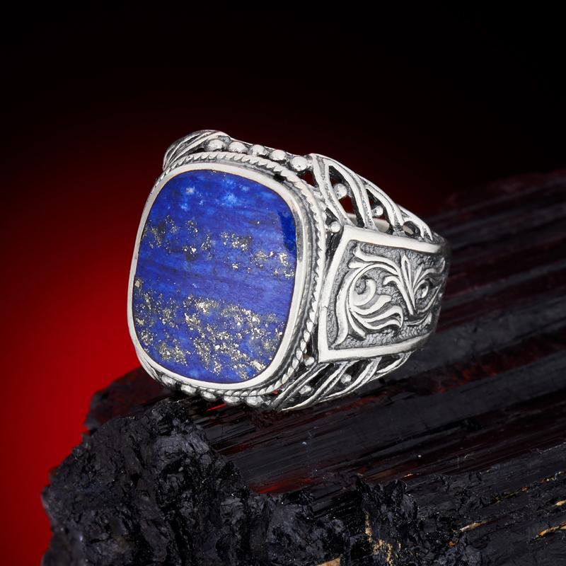 Кольцо лазурит  (серебро 925 пр.) размер 22