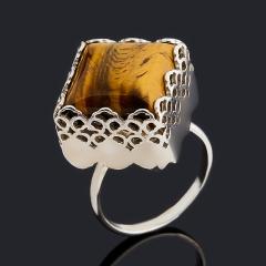 Кольцо тигровый глаз ЮАР (серебро 925 пр.) размер 18