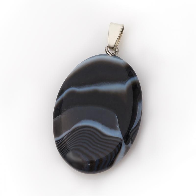 Кулон агат черный Бразилия овал (биж. сплав) 4,5 см