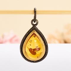 Кулон янтарь Россия капля (серебро 925 пр., позолота)