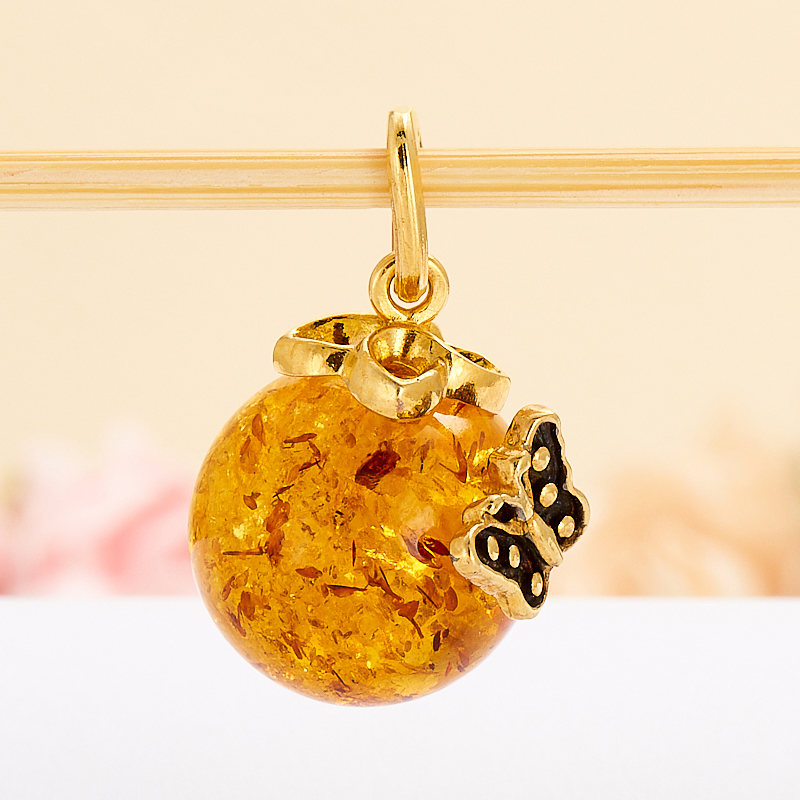 Кулон янтарь пресс  шар (серебро 925 пр., позолота)