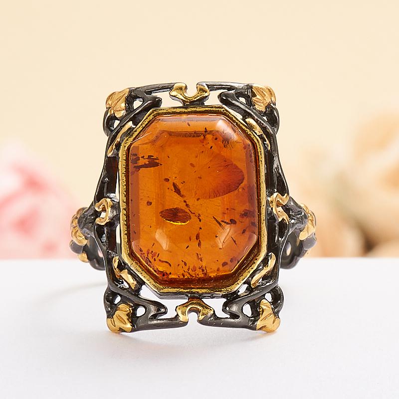Кольцо янтарь  (серебро 925 пр., позолота) размер 19