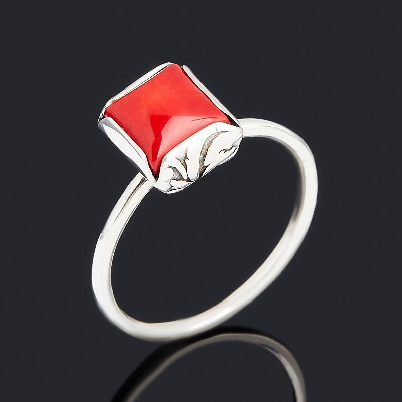 Кольцо коралл красный (серебро 925 пр.) размер 19,5 браслет коралл красный 17 cм серебро 925 пр позолота