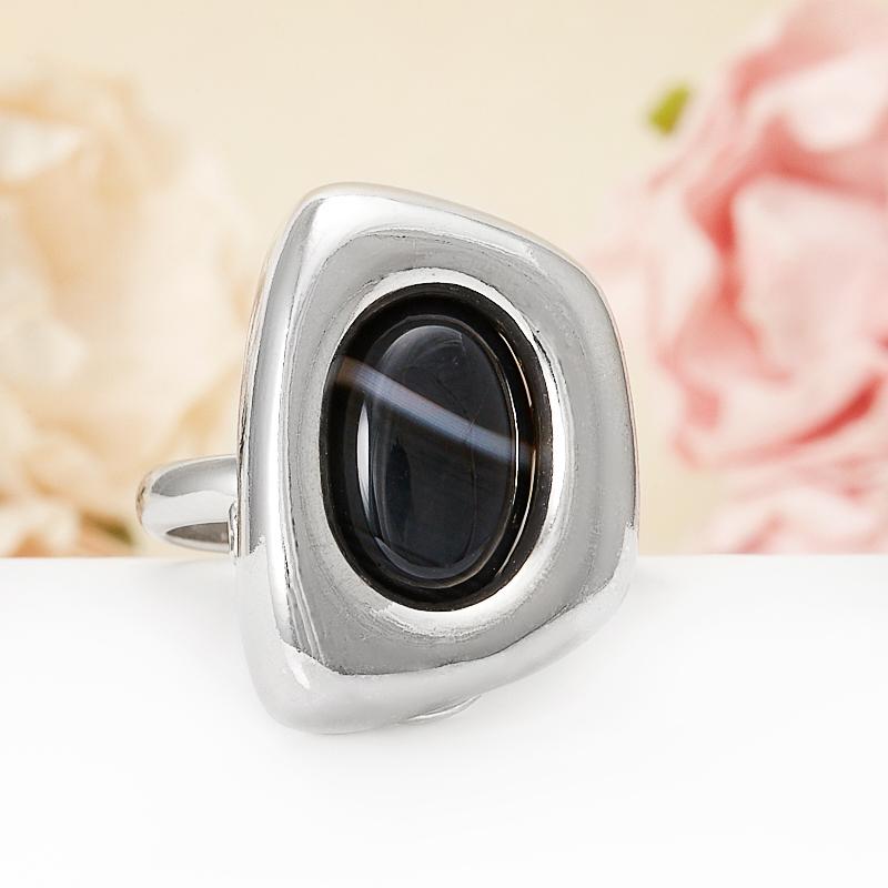 Кольцо агат черный (серебро 925 пр.) размер 19