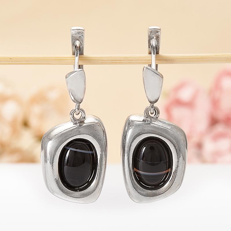 Серьги агат черный  (серебро 925 пр.)
