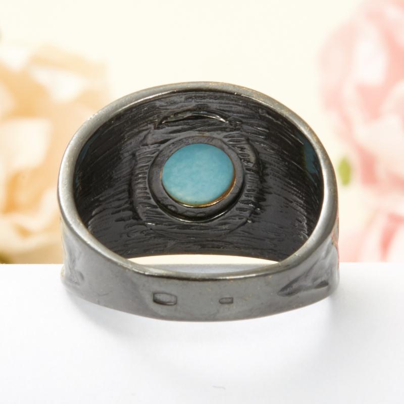 Кольцо бирюза Тибет (серебро 925 пр., позолота) размер 18,5