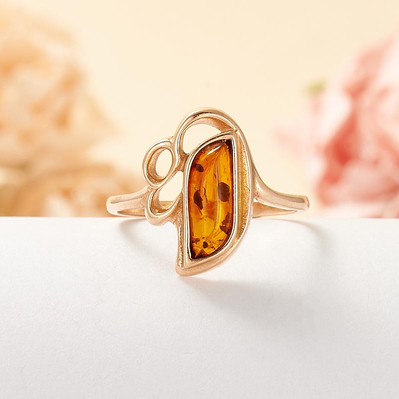 Кольцо янтарь  (серебро 925 пр., позолота) размер 17 кольцо янтарь серебро 925 пр позолота размер 17