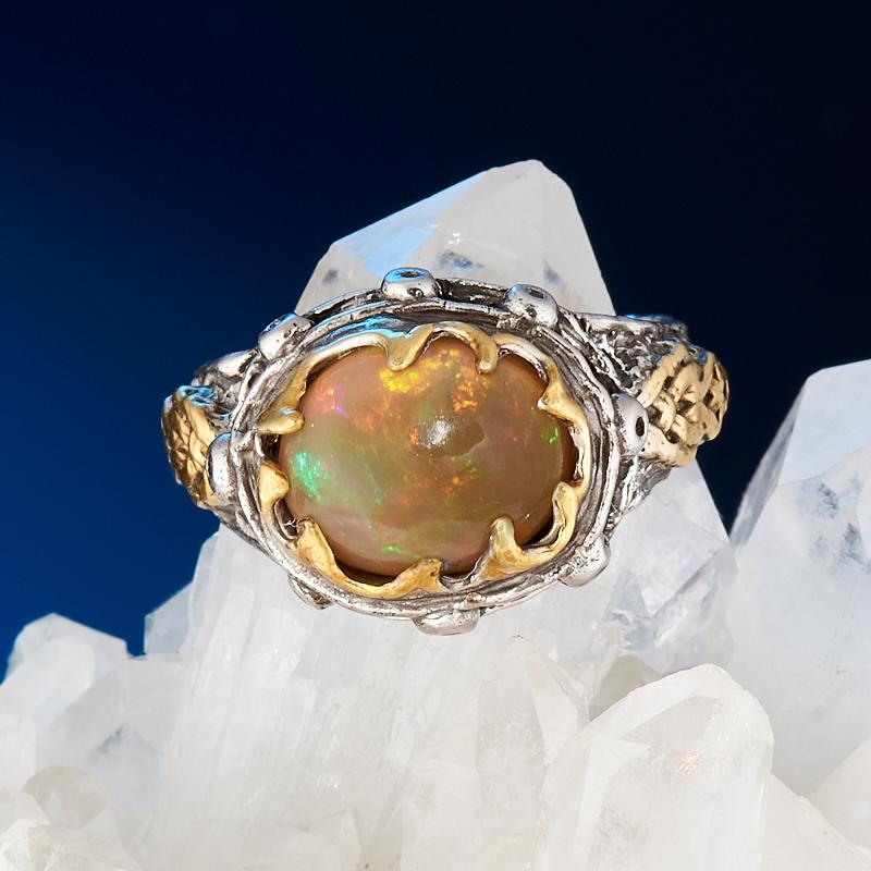 Кольцо опал благородный желтый  (серебро 925 пр., позолота) размер 17